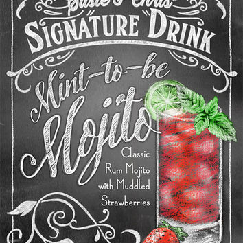 Signature Drink Signs - Chalkboard style Prints for Bar Decor at Weddings, Rehearsals, Parties