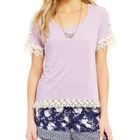Takara Crochet Trim Short-Sleeve Tee | Dillards