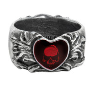 Alchemy Gothic Red Broken Heart Skull Ring