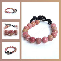 Rhodonite Gemstone Bead Bracelet with Button Fastening