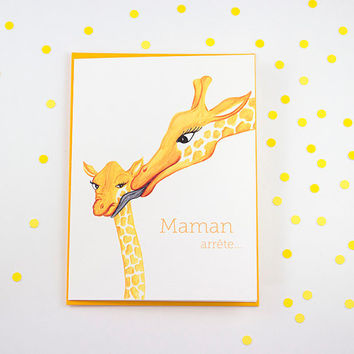 Mother's day card with giraffes, Mom please stop
