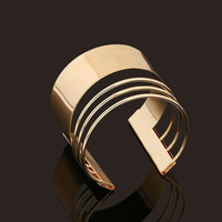 Europe Gorgeous Gold Plated Punk Rock Style Hollow Open Bangle Cuff Bracelet (Color: Gold) = 1946697220