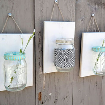 Mason Jar Wall Decor , Set of 3, Aztec, Wood , Country Decor , Rustic Decor , Boho Chic, Wall Sconce , Wall Hanging , Bathroom storage