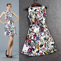 Painted Flower Design Sleeveless Zipper Back Mini Dress