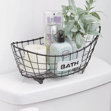 Bathroom Storage Basket Metal Bathtub Shaped Country Farmhouse Decor