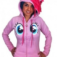My Little Pony Pinkie Pie Face Juniors Pink Costume Hoodie with Mane - My Little Pony - | TV Store Online