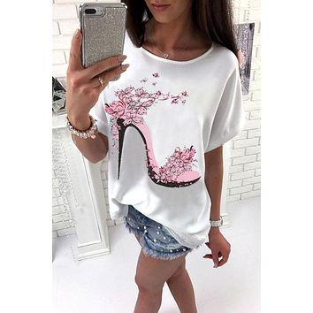 Print Batwing Scoop Loose T-shirt