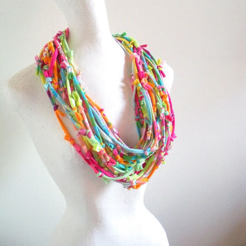 Rainbow Sherbet Infinity Scarf Upcycled Clothing Summer Fashion Colors Raspberry Pink Tangerine Orange Lime Green Blue Lemon Yellow