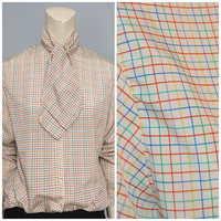 Vintage 1980's Rainbow Grid Pattern Necktie Neck Tie Blouse Pussy Bow Button Down Shirt Women's Top Size Medium Geometric Lines Long Sleeve