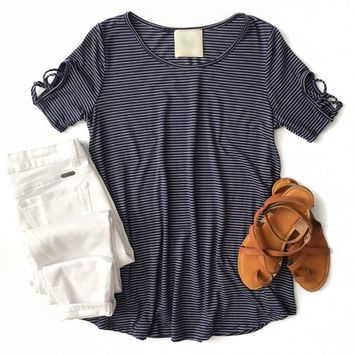 Navy Striped Top with Criss Cross Sleeves