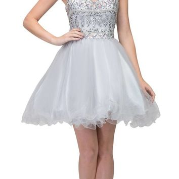 Silver Beaded Short Prom Dress with Illusion Neckline