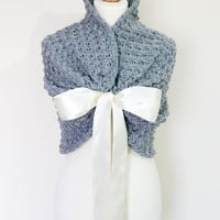 BRIDAL Bridesmaid Wrap Shawl Stole WEDDING Bolero SHRUG Bridal Cape Crochet Wrap Bolero Jacket Gray Wedding Shawl  Capelet