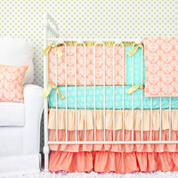 Chloe's Coral Damask Baby Bedding   Coral And Mint Crib Set