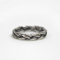 Wide Braided Grass Ring