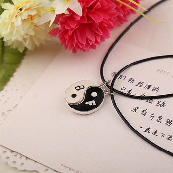 Two Bagua Charm Pendant Necklaces Jewelry Best Friends Ying Yang Necklaces SM6