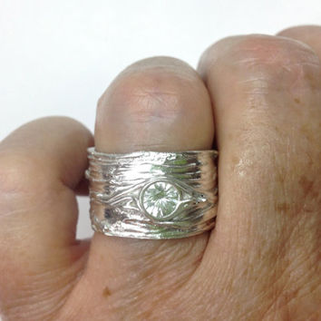 Ring White Shire Wide Silver Tree Bark Unique Wedding Bands