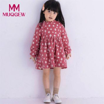 Hot Sale Toddler Kids Baby Girl Long Sleeve Tree Pattern Warm Thick Autumn Winter Party Princess Dresses Girls Mini Dress