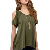 Bluetime Womens Casual Hollow Out Short Sleeve Off Shoulder Tunic Tops Shirt