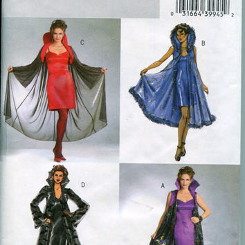 SEXY Goth Fitted Dress Cape w/ Marabou Trim Costume LARP Cosplay Dress-up Simplicity 6219 Size Large Xl Bust 38 to 44 UNCUT Sewing Patterns