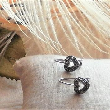 Sterling Silver Marcasite Heart Drop Earrings