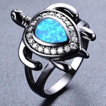 Turtle Water Drop Blue Fire Opal Animal Ring  FREE SHIPPING