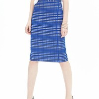 Banana Republic Womens Blue Square Jacquard Pencil Skirt