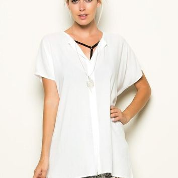 OPEN V-NECK TUNIC