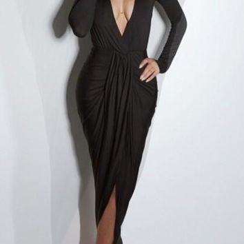 Black Draped Cross Front Split Plunging Neckline Bodycon Long Sleeve Maxi Dress