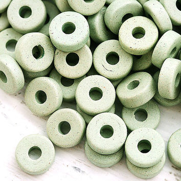 Greek Ceramic beads - Sage Green, Green Tea - rondelle, spacers, 8mm - 25pc - 0843