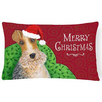 Wire Fox Terrier Christmas Canvas Fabric Decorative Pillow VHA3040PW1216