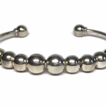 Vintage Sterling Sliding Ball Cuff Bracelet 7 Inches