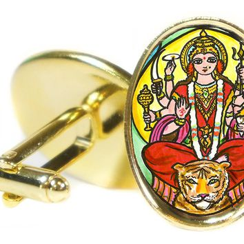 "Goddess Durga of Divine Force 1"" Oval Pair of Cufflinks"
