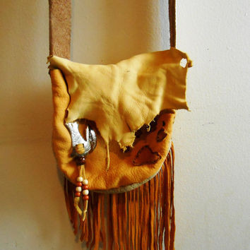 Fringe Shoulder Bag with Wolf Paw Design and Silver Concho, Handmade, Native American, Mountain Man, Rendezvous, Powwow, Regalia, OOAK