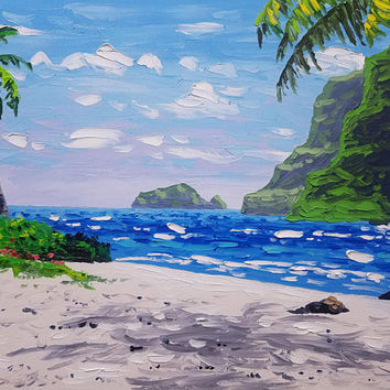 "Original Palette Knife Seascape Painting, by Ryan Kimba 20"" Oil Painting on Canvas, Beach Art, Tropical Mountains with Waterfall"