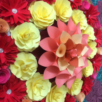 Handmade Rangoli, Home Decor,Paper Flowers,Wall Hanging,Floor Art, House Warming Decor, Diwali Decor, Wedding Decoration, Ready To Use Decor