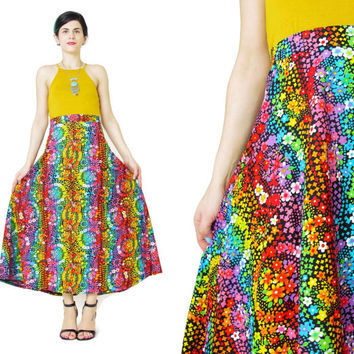 1970s Neon Rainbow Floral Skirt Psychedelic Floral Print Skirt Long Floral Maxi Skirt Black Bright Floral Cotton Skirt Festival Boho (L/XL)
