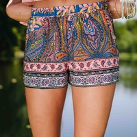 Paisley at the Party Printed Shorts