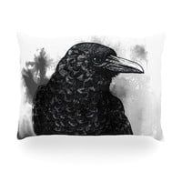 "Sophy Tuttle ""Crow"" Black White Oblong Pillow"