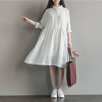 2018 Women Literary Vintage Long Sleeve Stripe Ladies Party Casual Loose Cotton Midi Dress Oversize Swing Maxi Dresses Vestidos