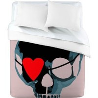 DENY Designs Amy Smith Blue Skull with Bow Duvet Cover, King