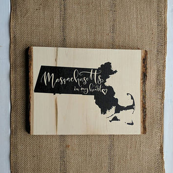 STATE SIGN on WOOD: Home State Wood Sign, State Print, State Wall Art, State Sign, State Print on Wood Slice, Rustic Decor, Farmhouse Decor