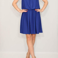 Cobalt blue Dress Short Dress Summer Bridesmaid dress