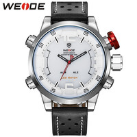 Men Sports Watches White Face Water Resistant Analog LED Digital Display Genuine Leather Watches