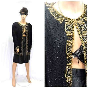 Vintage 80s glam beaded sheer black and gold pure silk cocktail jacket  formal retro beaded silk blazer 1980s party jacket SunnyBohoVintage