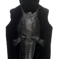G-Gator Full Alligator Body Hooded Mouton Vest