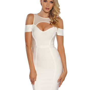 Megan Sheer Mesh Cut Out Shoulder White Bandage Dress