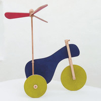 Wooden toy, eco-friendly hand-made toy, kids toy, the flying tricycle.