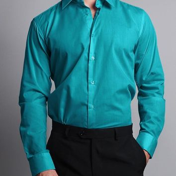 Men's Slim Fit Solid Color Dress Shirt (Turquoise)