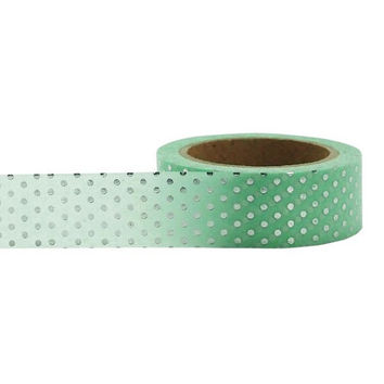 Washi Tape, Mint Washi Tape, Silver & Mint Tape, Embellishment, Craft Tape, Decorative Tape, Printed Tape, Planner Tape, Scrapbooking Tape