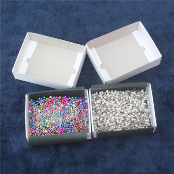 750PCS/BOX  colorful offic Standard pin DIY Bead needle pins decorations ball head pins free shipping